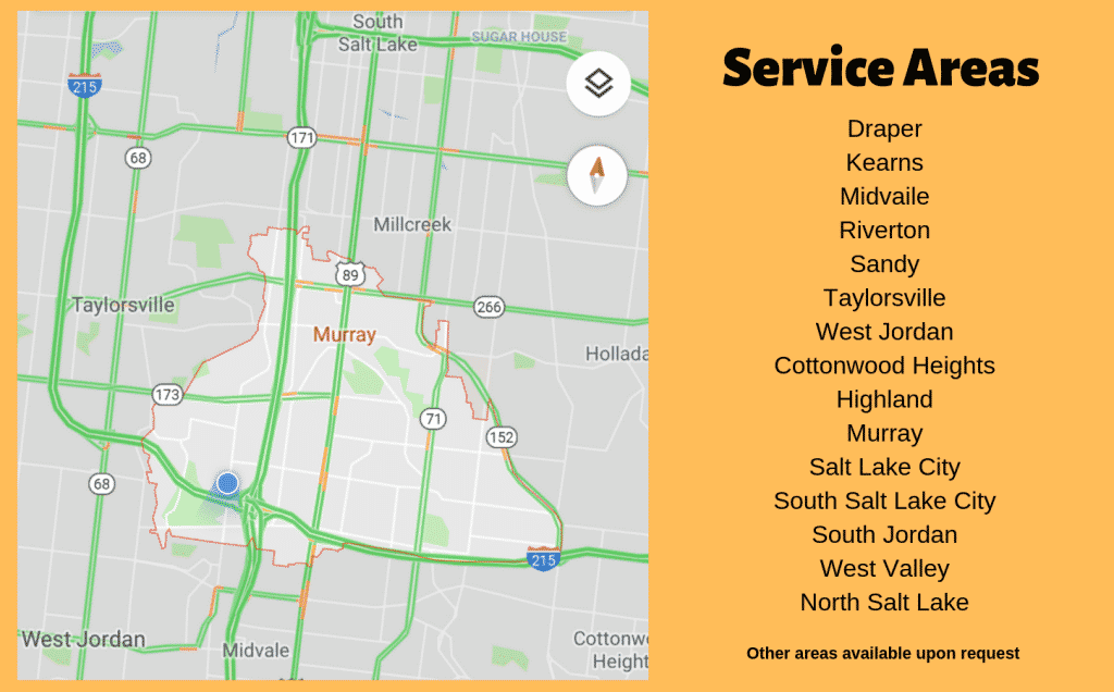 Map of Utah cities and the service area of Efficient Systems - including Murray, Draper, Kearns, and Salt Lake City