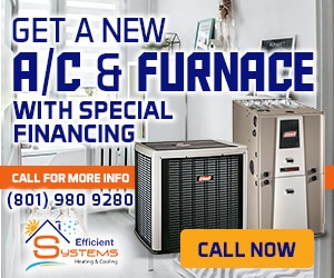 "A split type HVAC, with the text ""Get a new A/C & furnace with special financing"""
